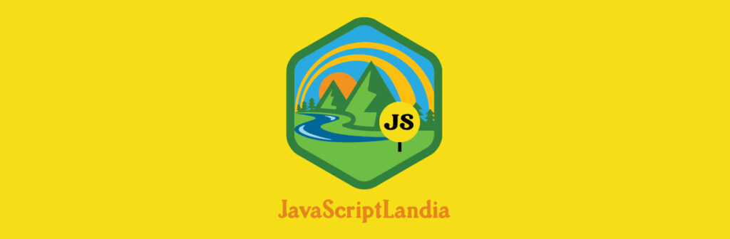 JavaScriptLandia badge with sun and mountains.